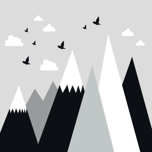 Happy Mountains Black White